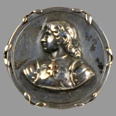 Sculpted Victorian Sterling & Gold St Joan of Arc Pin Brooch