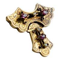 Victorian Gold Amethyst Pearl Brooch Pin