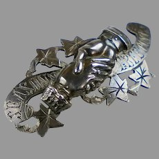 """Victorian Sterling Clasping Hands """"Season's Greetings"""" Pin"""
