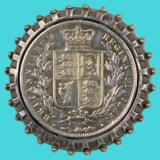 Antique 1881 UK Queen Victoria 1/2 Crown Silver Coin Brooch