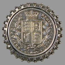 Antique 1881 UK Queen Victoria 1/2 Crown Silver Coin Brooch