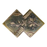 Victorian Solid Gold Fronted Chased Pin