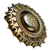 Masterfully Crafted Victorian 10K Gold Locket Brooch RARE