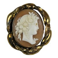 Victorian 10K Gold Carved Cameo Swivel Brooch
