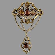 RARE Antique Victorian Citrine Drop Brooch Pendant