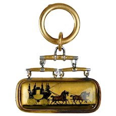 Victorian 14K Gold Reverse Painted Pendant Charm Fob