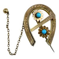 Victorian Gold Fronted Horseshoe Pin Brooch