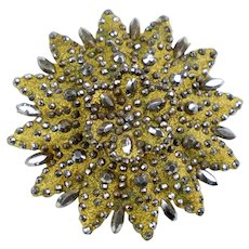 Most Unique 19th C Cut Steel Against Gold Brooch