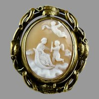 Large Victorian Cameo Swivel Brooch Pendant