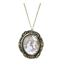 Large Victorian Gold Cameo Swivel Pendant Brooch