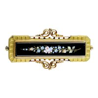 Victorian Etruscan Large GF Onyx Enamel  Pin