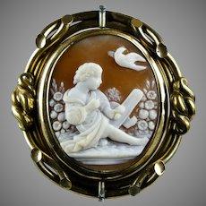 Victorian Large Cameo Swivel Brooch Pendant