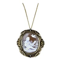Top Quality Victorian Large Cameo Swivel Pendant Brooch