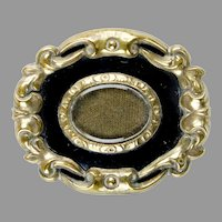 Victorian Gold Black Mourning Brooch Pin