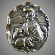 Really Special Large Victorian Figural Lady with Pug Brooch