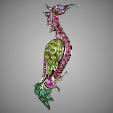 Exquisite Early 20th C 14K Gold Jeweled Bird Brooch