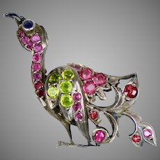 Delightful Early 20th C 14K Gold Jeweled Bird Brooch