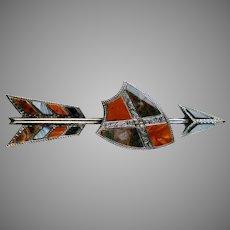 Striking Scottish Victorian Sterling Agate Arrow Shield Brooch