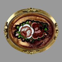 Victorian Goldstone Micro Mosaic Brooch