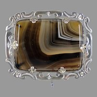 Scottish Victorian Sterling Banded Agate Pin Brooch