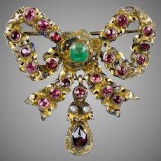 Antique Austro-Hungarian Garnet Bow Pin