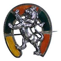 Scottish Victorian Sterling Lion Agate Horse Shoe Brooch