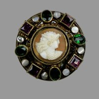 Antique Austro-Hungarian Cameo & Stones Brooch