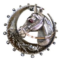 English Victorian Sterling & Gold Moon & Horse Brooch