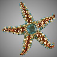 Impressive Vintage Signed KJL Starfish Pin