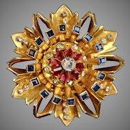 Vintage Signed R. DeRosa Imposing Flower Pin