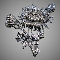 Signed Cini Sterling Silver Chrysanthemum Spray Pin