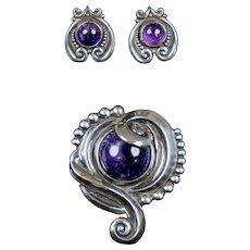 Signed Margot de Taxco Set Sterling Silver Pin Earrings