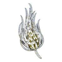 Large Crown Trifari Pin Wavy Floral Design