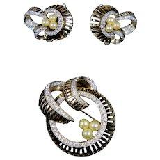 Signed Jomaz Pin Earrings Set