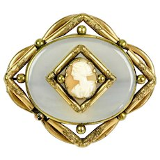 RARE Victorian Chalcedony Cameo Brooch