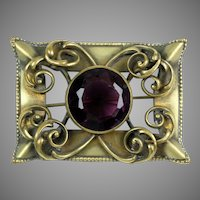 Large Victorian Brass Amethyst Glass Sash Pin