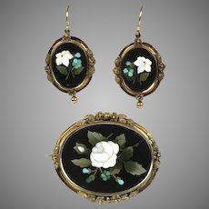 Earrings & Brooch SET Victorian 14K Gold Pietra Dura