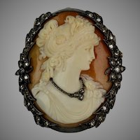 Exceptional French Art Deco Cameo & Diamonds Pin Pendant