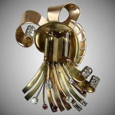 Spectacular Retro 14K Gold Citrine Diamond Ruby Brooch