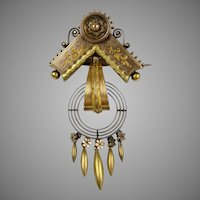 Superb Victorian 14K Rose & Yellow Gold Dangle Brooch