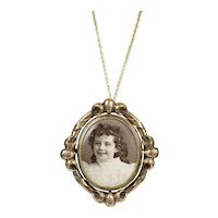 Extraordinary Large Victorian Gold Swivel Locket Pendant Brooch