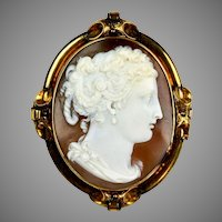 Victorian Large Gold Cameo Pin Pendant