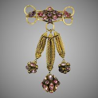 Stunning Huge Czech Glass  Tassels Pin