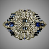 Large Art Deco Brooch Blue & White Brooch