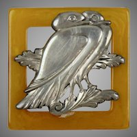 Art Deco Butterscotch Bakelite & Silver Brooch