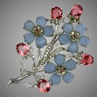 Signed Pennino Blue & Pink Floral Bouquet Pin