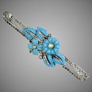 Enchanting Turquoise Glass & Rhinestone Pin