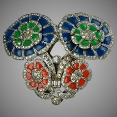 Spectacular Art Deco Dress Clip Blue Red & Green Flowers