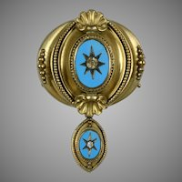 Victorian Turquoise Paste Brooch with Drop