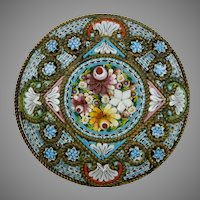 Exquisite Intricate Antique Micro Mosaic Brooch